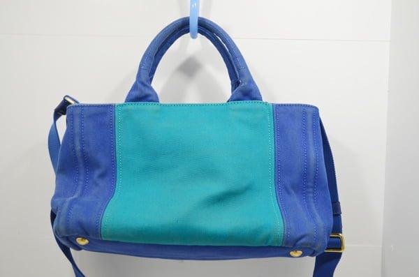 プラダ_カナパのバッグのクリーニング染色補正前