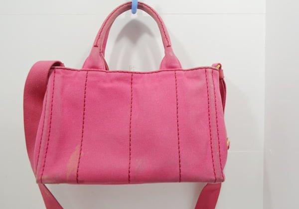 プラダ・カナパのバッグのクリーニング・染色補正の作業前後面